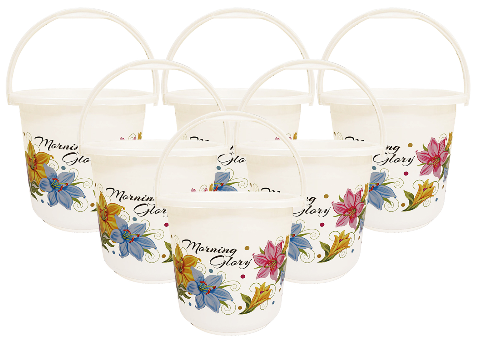 Kuber Industries Floral Print 6 Pieces Unbreakable Strong Plastic Bathroom Bucket 16 Ltr (White) -CTKTC34849