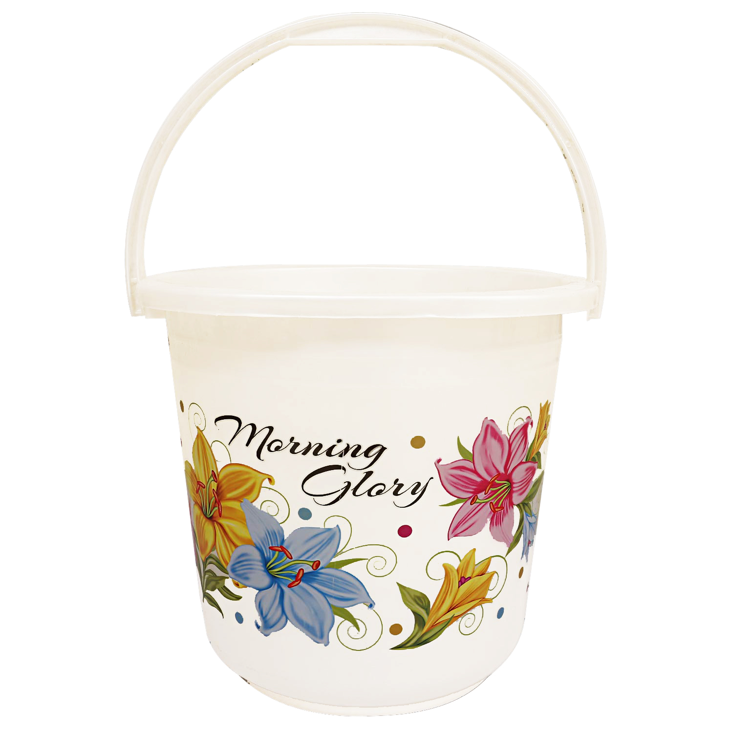 Kuber Industries Floral Print 6 Pieces Unbreakable Strong Plastic Bathroom Bucket 16 Ltr (White & Pink) -CTKTC34887