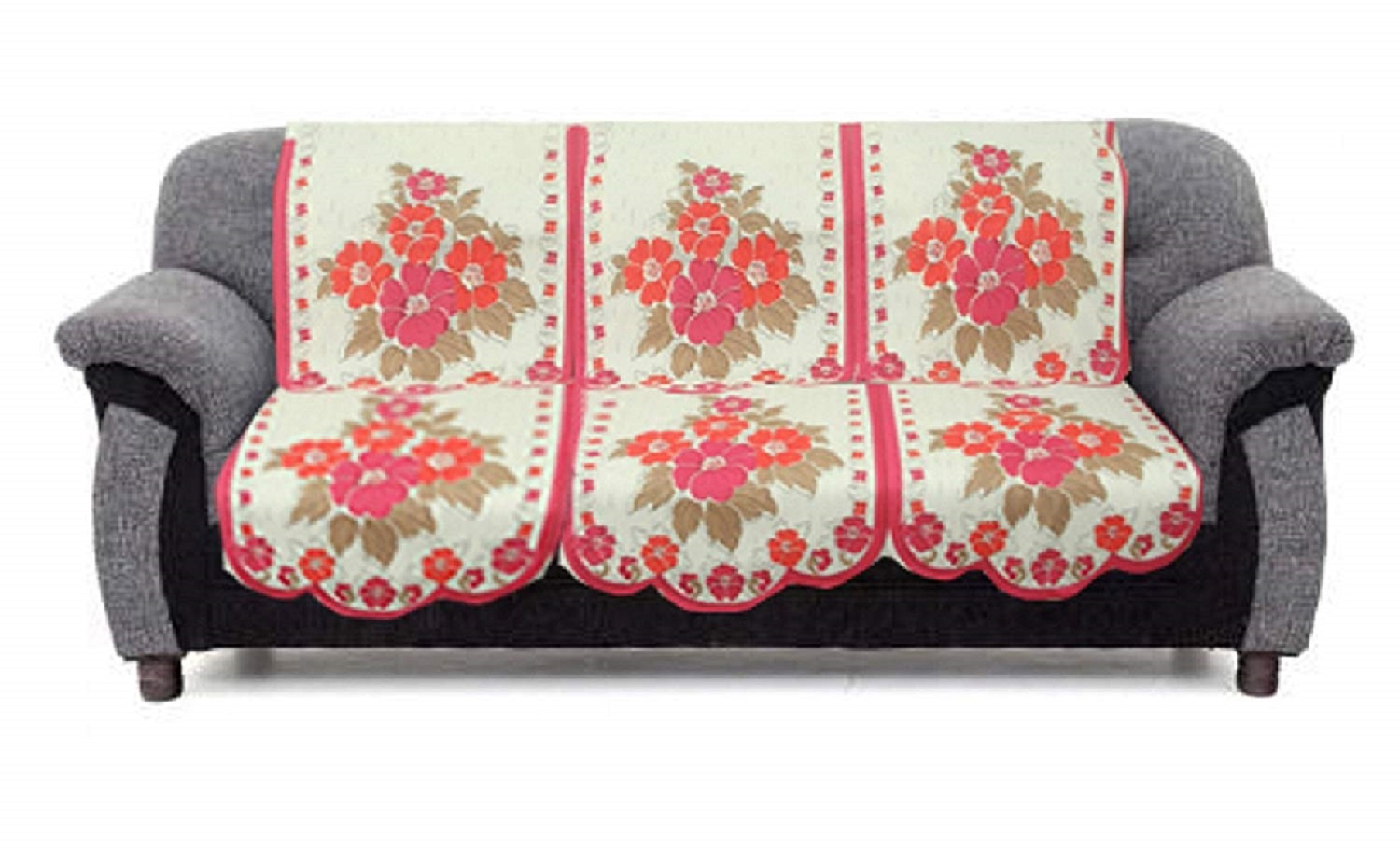 Amazing Kuber Industries Flower Cotton 2 Piece 3 Seater Sofa Cover Pink Cream Onthecornerstone Fun Painted Chair Ideas Images Onthecornerstoneorg