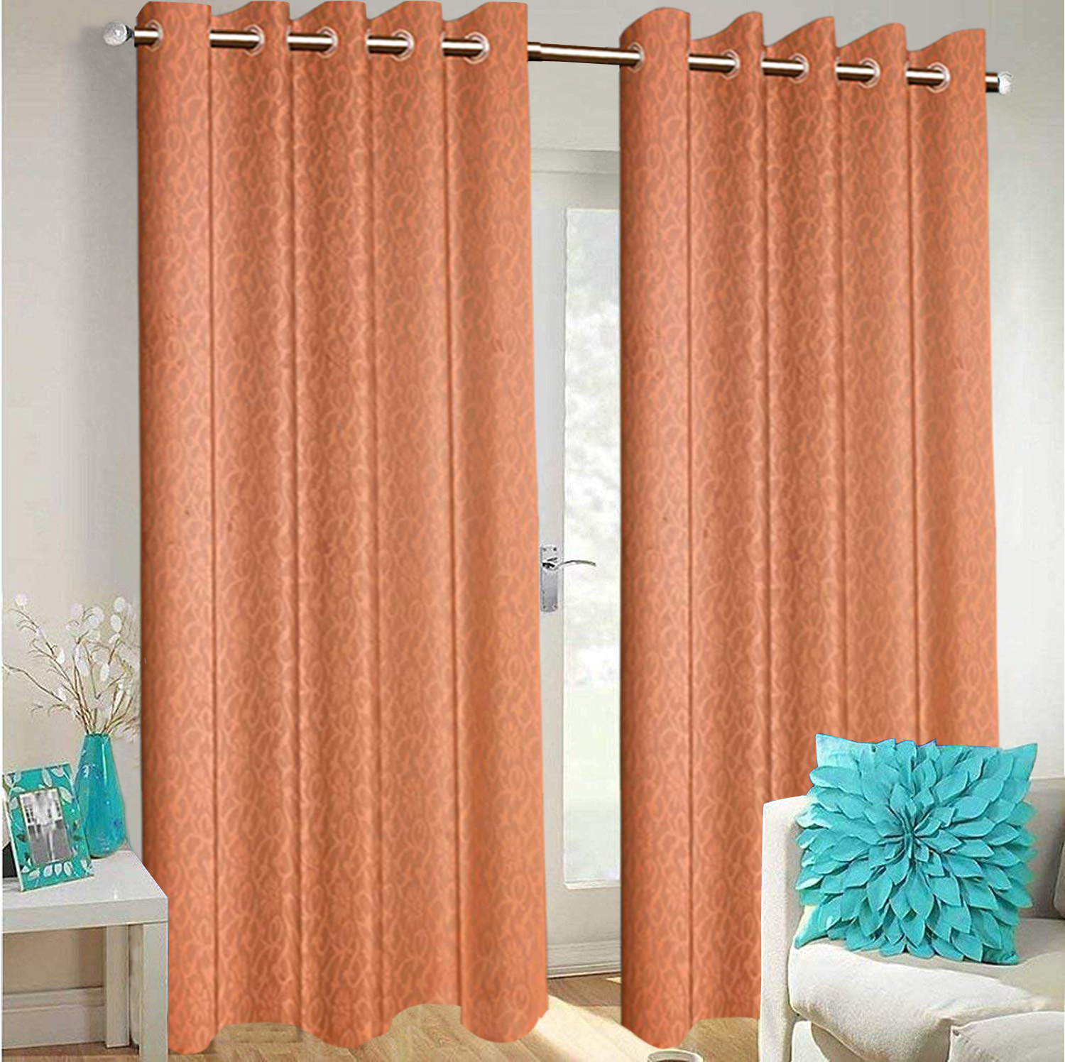 Kuber Industries Flower Design 2 Pieces Sheer Door Curtains Linen Look Semi Transparent Voile Grommet Elegance Curtains for Living Dining Room, Bedroom Drapes 48 x 84 Inch Long, (Peach) - CTKTC40529