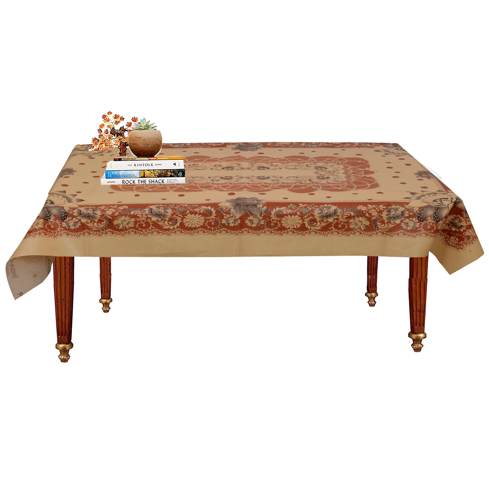 "Kuber Industries Flower Design PVC 4 Seater Center Table Cover 60""x40""(Maroon) - CTKTC40104"