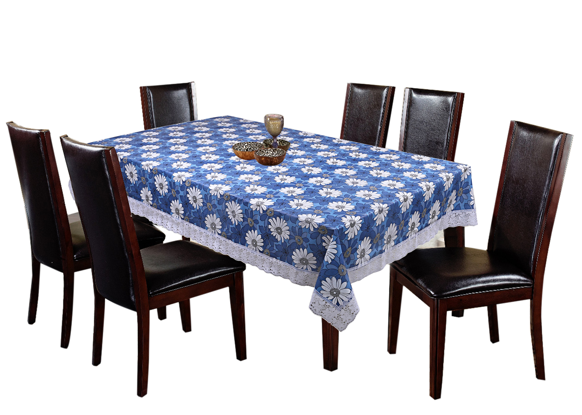 Kuber Industries Flower Design Pvc 6 Seater Dining Table Cover Blue 60 90 Inches