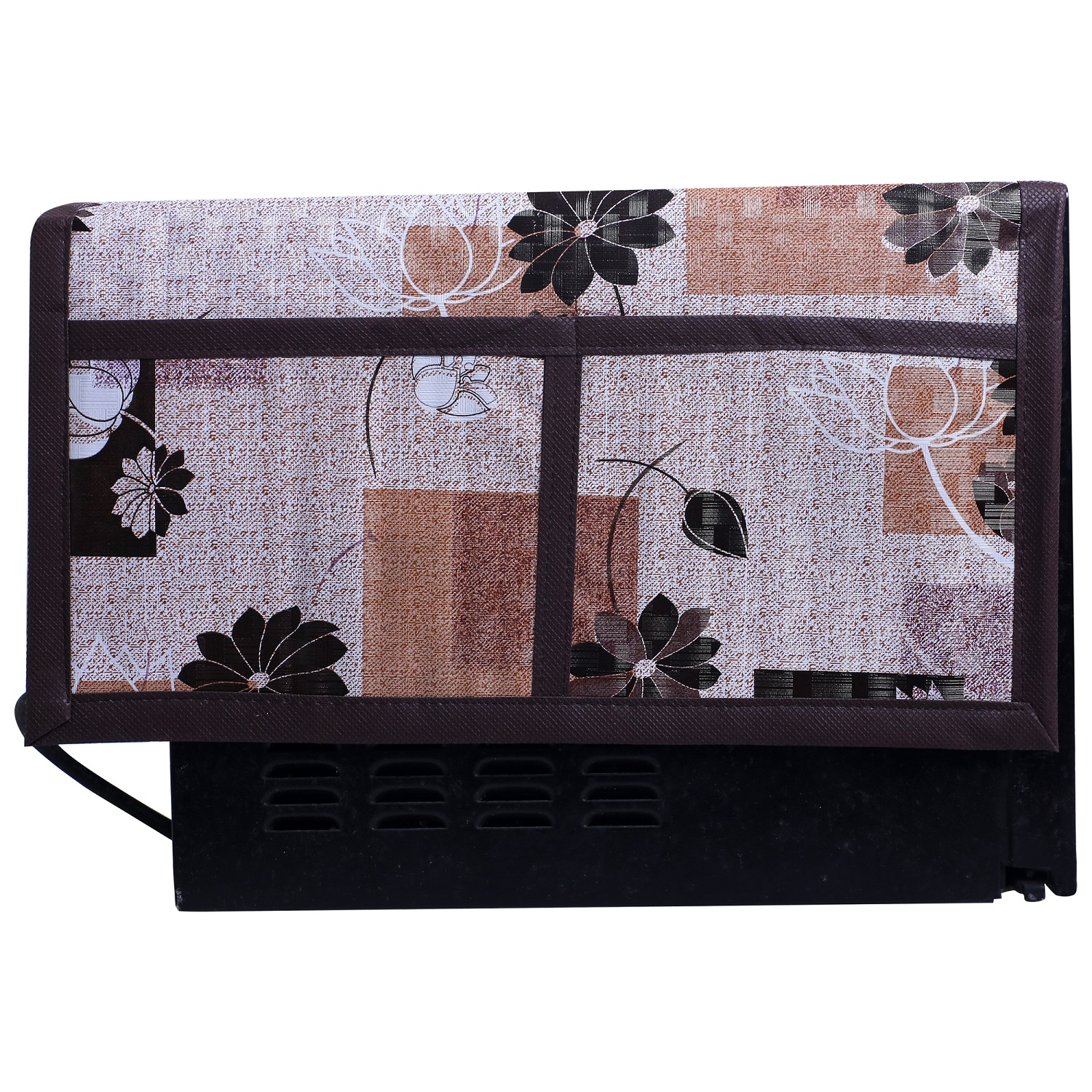 Kuber Industries Flower Design PVC Microwave Oven Top Cover 30 Liter with Utility 4 Pockets (Brown) - CTKTC40685