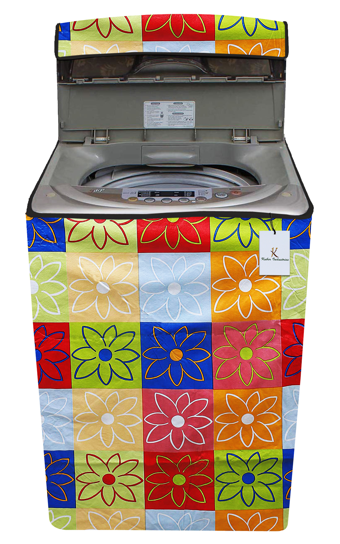 Kuber Industries Flower Design PVC Top Load Fully Automatic Washing Machine Cover With Back Hole (Multi)