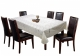 "Kuber Industries Flower Design Shining Cotton 6 Seater Dining Table Cover 60""x90""(Cream)"