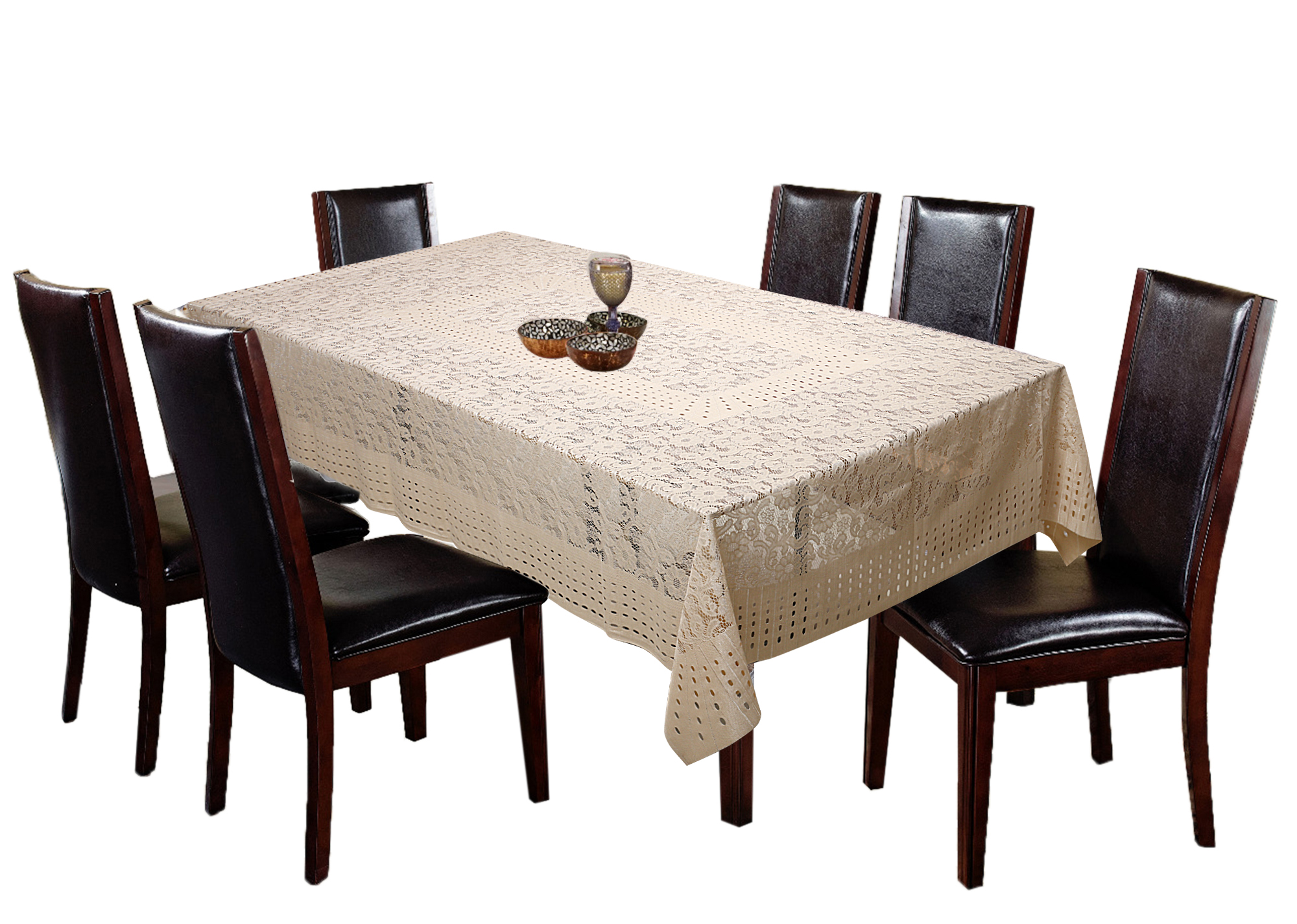 "Kuber Industries Flower Design Shining Cotton 6 Seater Dining Table Cover 60""x90""(Gold)"