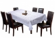 "Kuber Industries Flower Design Shining Cotton 6 Seater Dining Table Cover 60""x90""(White)"
