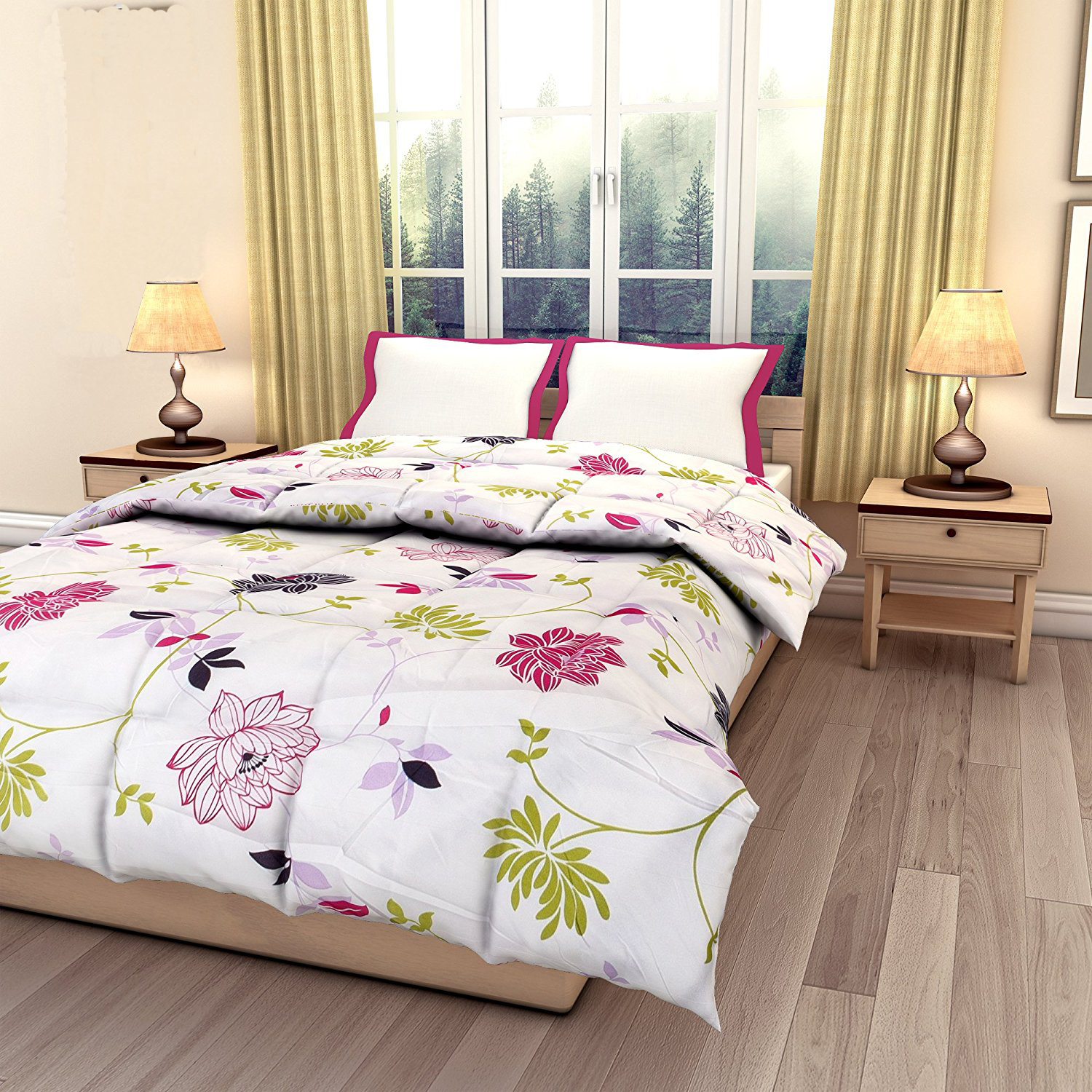 Kuber Industries™ Flower Print Reversible Poly Cotton Single Bed AC Blanket / Dohar (Pack of 2 Pcs) (Multi) (Code-DOH15)