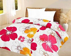 Kuber Industries™ Flower Print Reversible Poly Cotton Single Bed AC Blanket / Dohar (Pink) (Code-DOH08)
