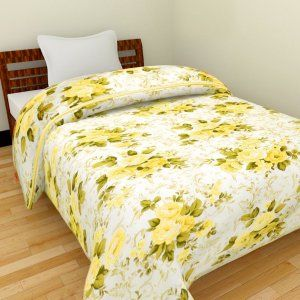 Kuber Industries™ Flower Print Reversible Poly Cotton Single Bed AC Blanket / Dohar (Yellow) (Code-DOH02)