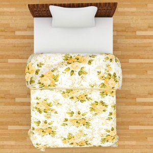 Kuber Industries™ Flower Print Reversible Poly Cotton Single Bed AC Blanket / Dohar (Yellow) (Code-DOH03)