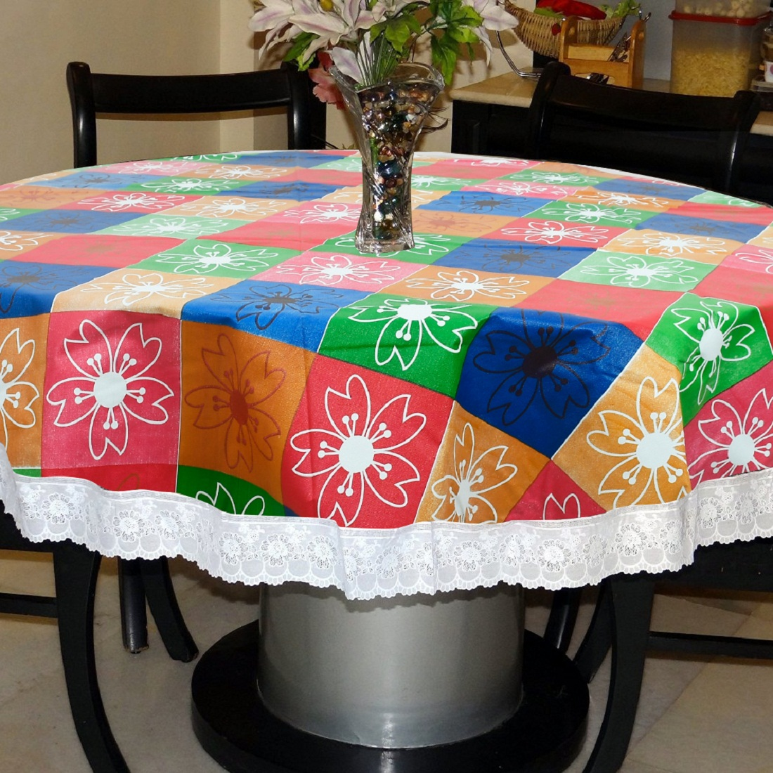 Kuber Industries Flower Print Round Table Cover 60 Inch Waterproof Pvc Resistant Spillproof Pvc Fabric Table Cover For Dining Room Kitchen Party Mult