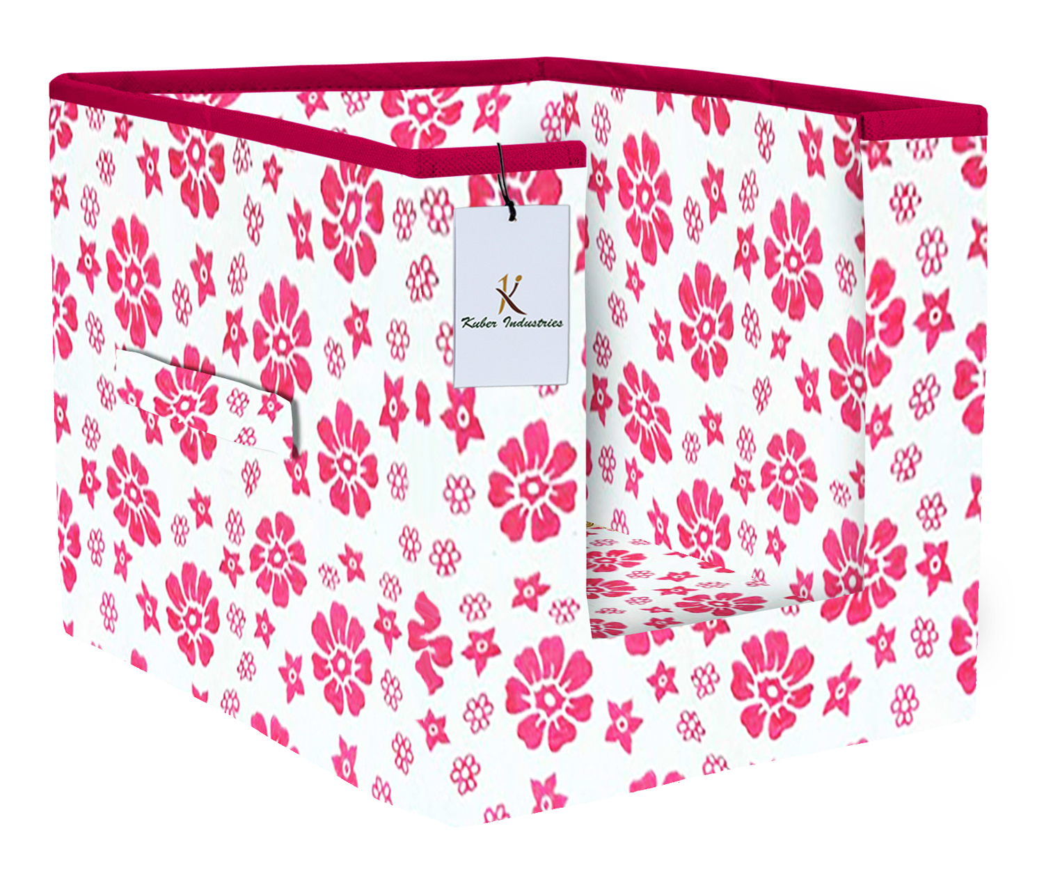 Kuber Industries Flower Printed Non Woven 1 Piece Shirt Stacker And 1 Piece Foldable Rectangle Cloth Saree Stacker Cloth Wardrobe Organizer Wardrobe Organizer (Pink) -CTKTC38186