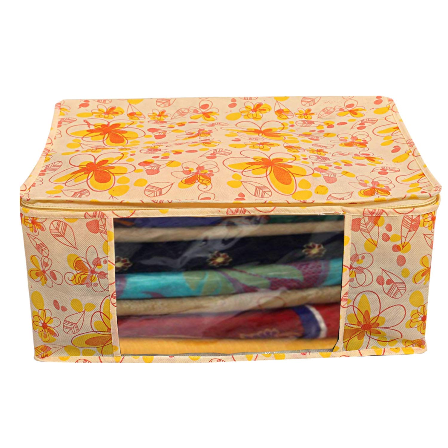 Kuber Industries Flower Printed Non Woven 2 Pieces Saree Cover And 2 Pieces Underbed Storage Bag, Cloth Organizer For Storage, Blanket Cover Combo Set (Ivory & Red) -CTKTC38631