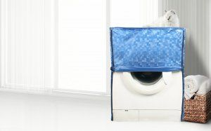 Kuber Industries Front Load Fully Automatic Washing Machine Cover In 3D Square Design Blue Color (Suitable For 6 kg, 6.5 kg, 7 kg, 7.5 kg) (WMCCF02)