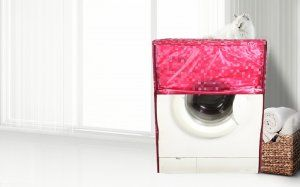 Kuber Industries Front Load Fully Automatic Washing Machine Cover In 3D Square Design Pink Color (Suitable For 6 kg, 6.5 kg, 7 kg, 7.5 kg) (WMCCF07)