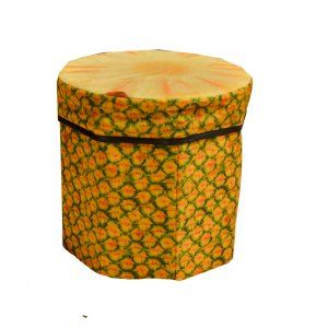 Kuber Industries™ Fruit Design Multi Purpose Foldable Velvet Big Storage Stool Seat Box For Sitting & Storing Cloths & Toys (Multi) (Code-KST042)
