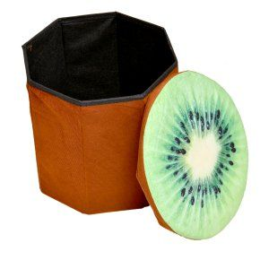 Kuber Industries™ Fruit Design Multi Purpose Foldable Velvet Big Storage Stool Seat Box For Sitting & Storing Cloths & Toys (Multi) (Code-KST043)