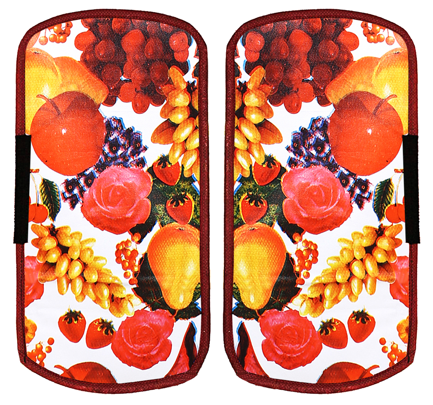 Kuber Industries Fruits Design PVC 2 Pieces Fridge/Refrigerator Handle Cover (Red & White)