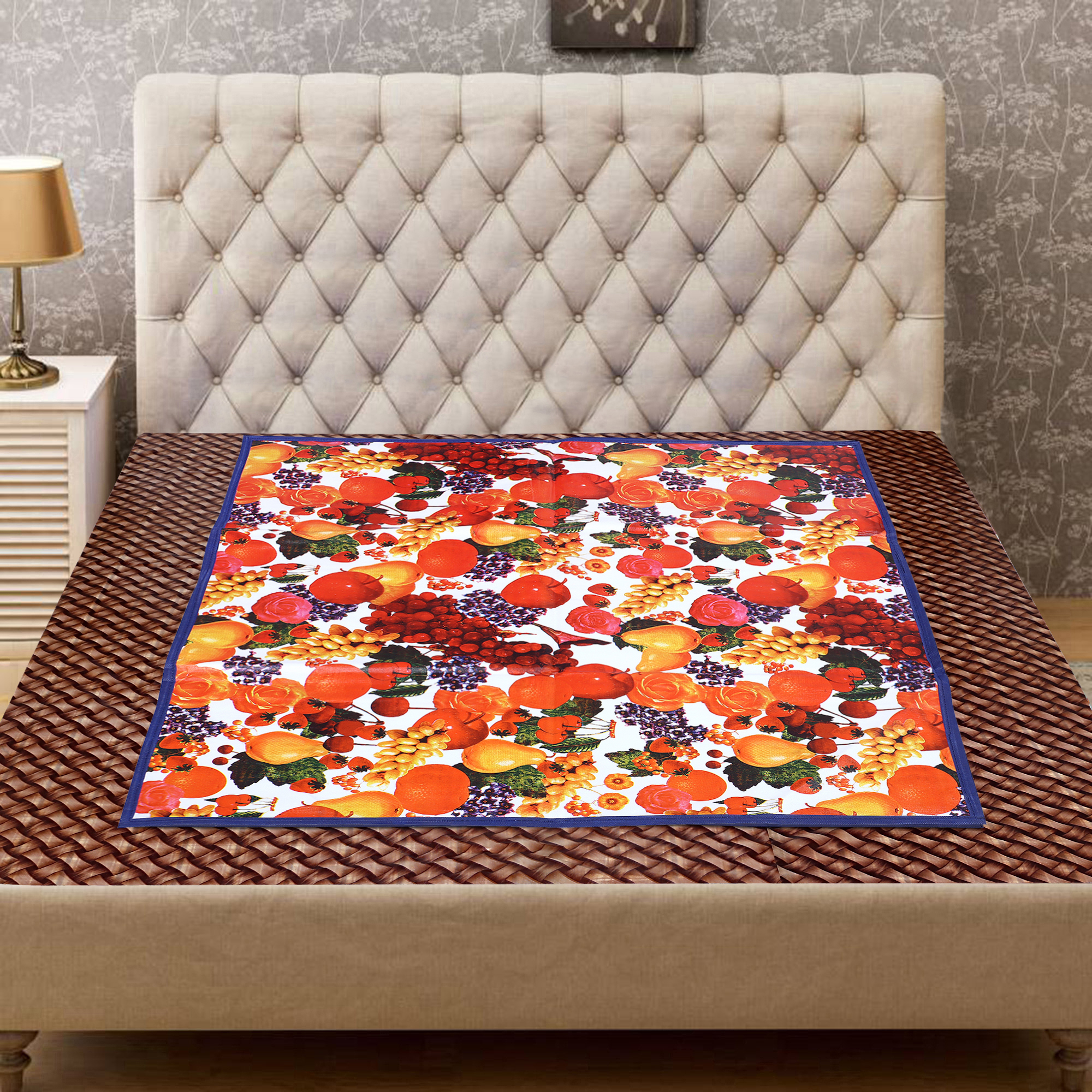 Kuber Industries Fruits Design PVC Reversible Food Mat Mattress Protector Bed Server (Red & Blue)