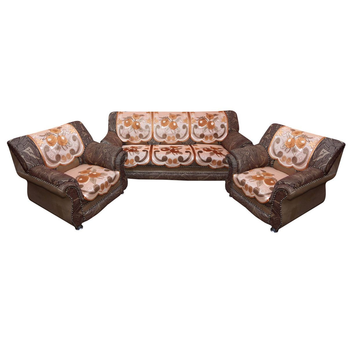 Kuber Industries™ Golden & Brown Flower 5 Seater Heavy Cloth Net Sofa Cover Set -10 Pieces Code-KIC113