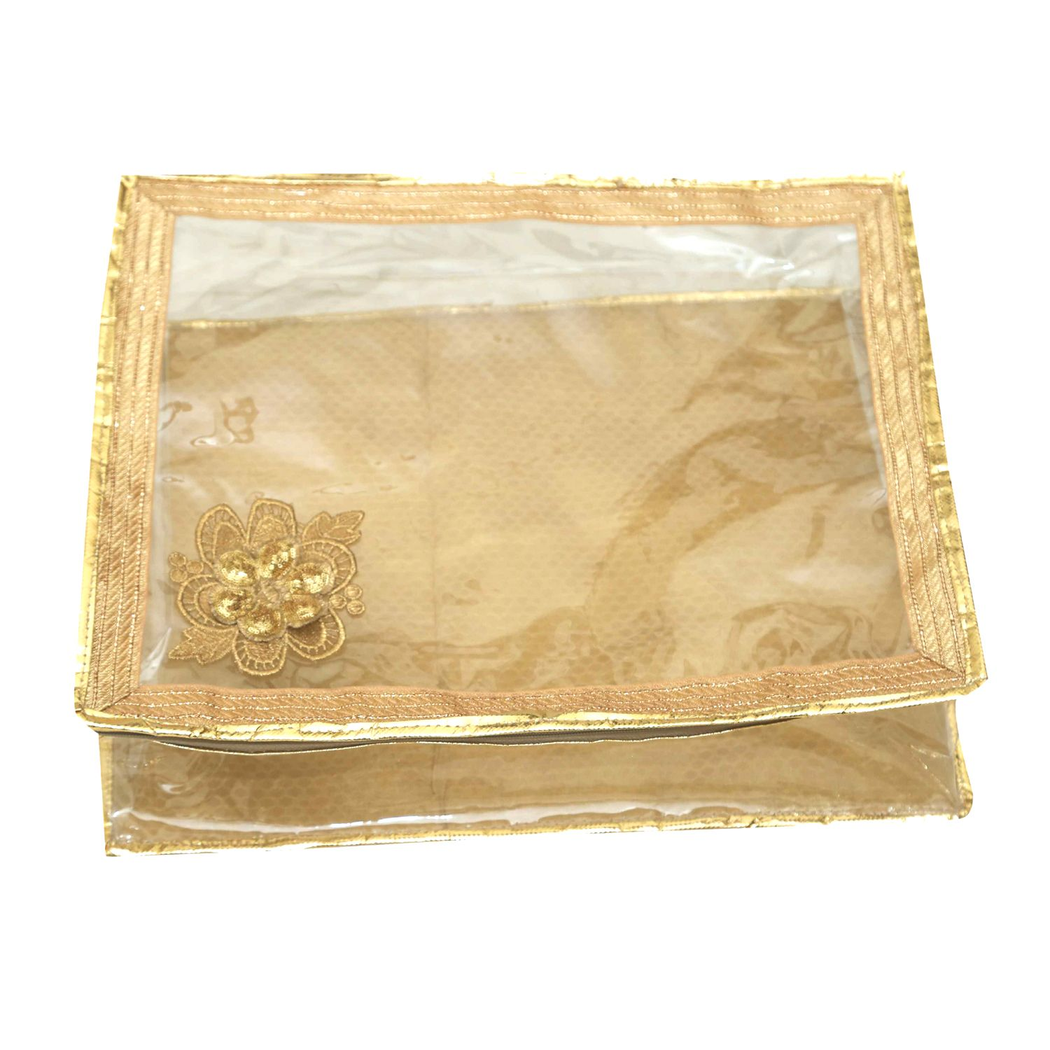 Kuber Industries™ Golden Transparent Bow Saree Cover/ Lahenga Cover  (6 Inches Height)Code-JW004