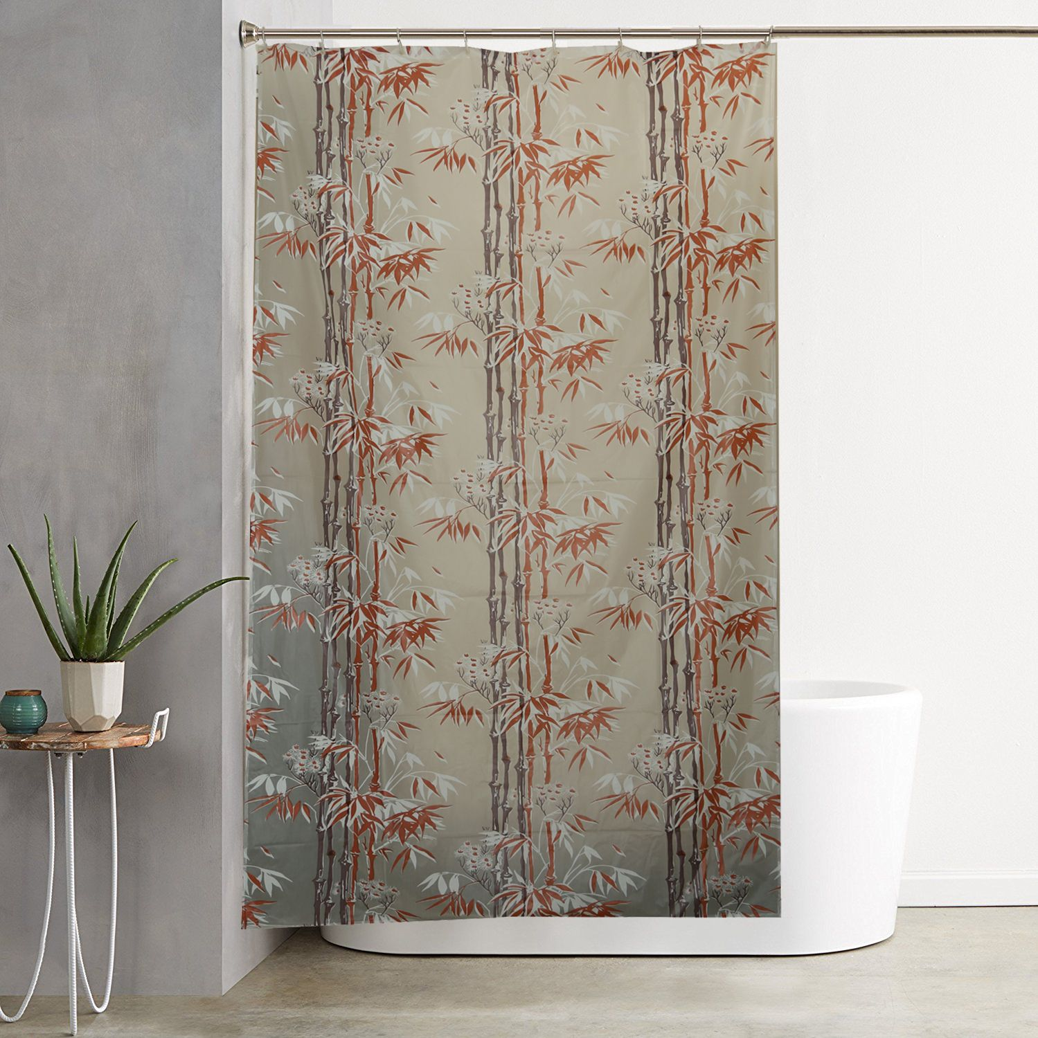 Kuber IndustriesTM Green Floral Design PVC Premium Shower Curtain