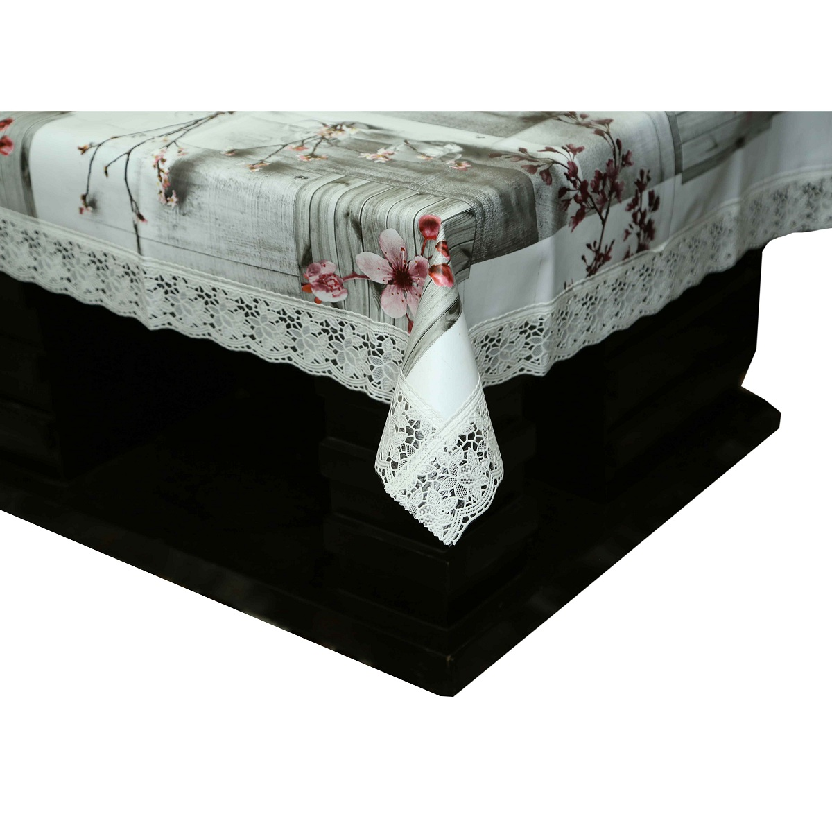 Picture of: Kuber Industries Grey Floral Design Heavy Waterproof Dining Table Cover 6 Seater 60 90 Inches