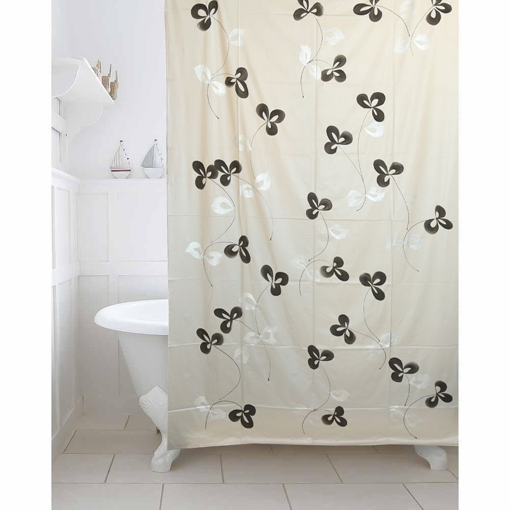 Kuber Industries Grey Floral Design Pvc Premium Shower Curtain 7 Feet Pack Of 2 Pcs 8454 Inches 8 Hooks Shwc02 939454 L