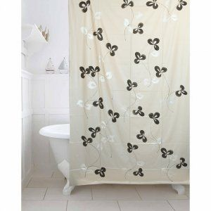 Kuber IndustriesTM Grey Floral Design PVC Premium Shower Curtain