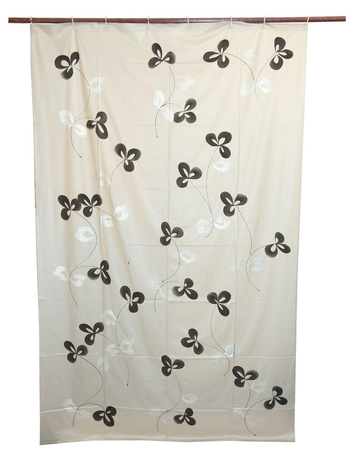 Kuber Industries™ Grey Floral Design PVC Premium Shower Curtain - 7 Feet -84*54 Inches- 8 Hooks (SHWC02)