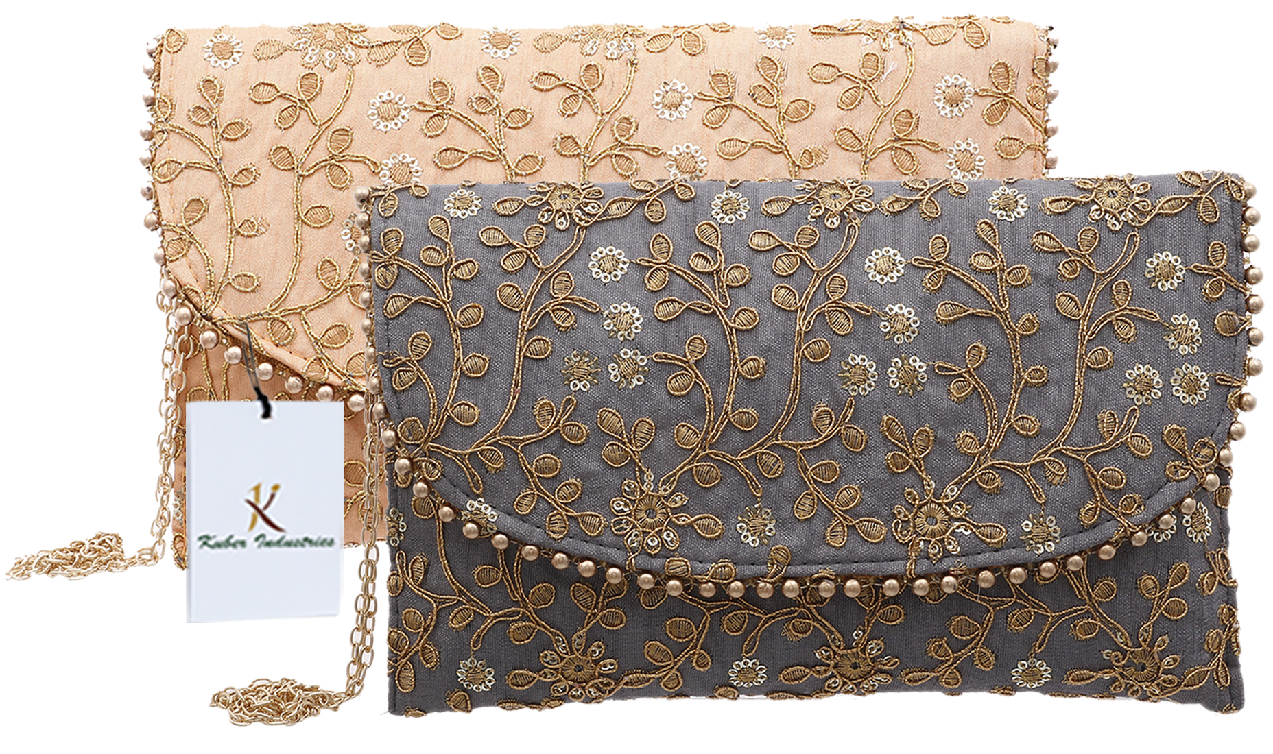 Kuber Industries Handcrafted 2 Pieces Embroidered Party Wear Clutch Bag Purse Handbag For Bridal, Casual, Party, Wedding (Grey & Peach) - CTKTC34535