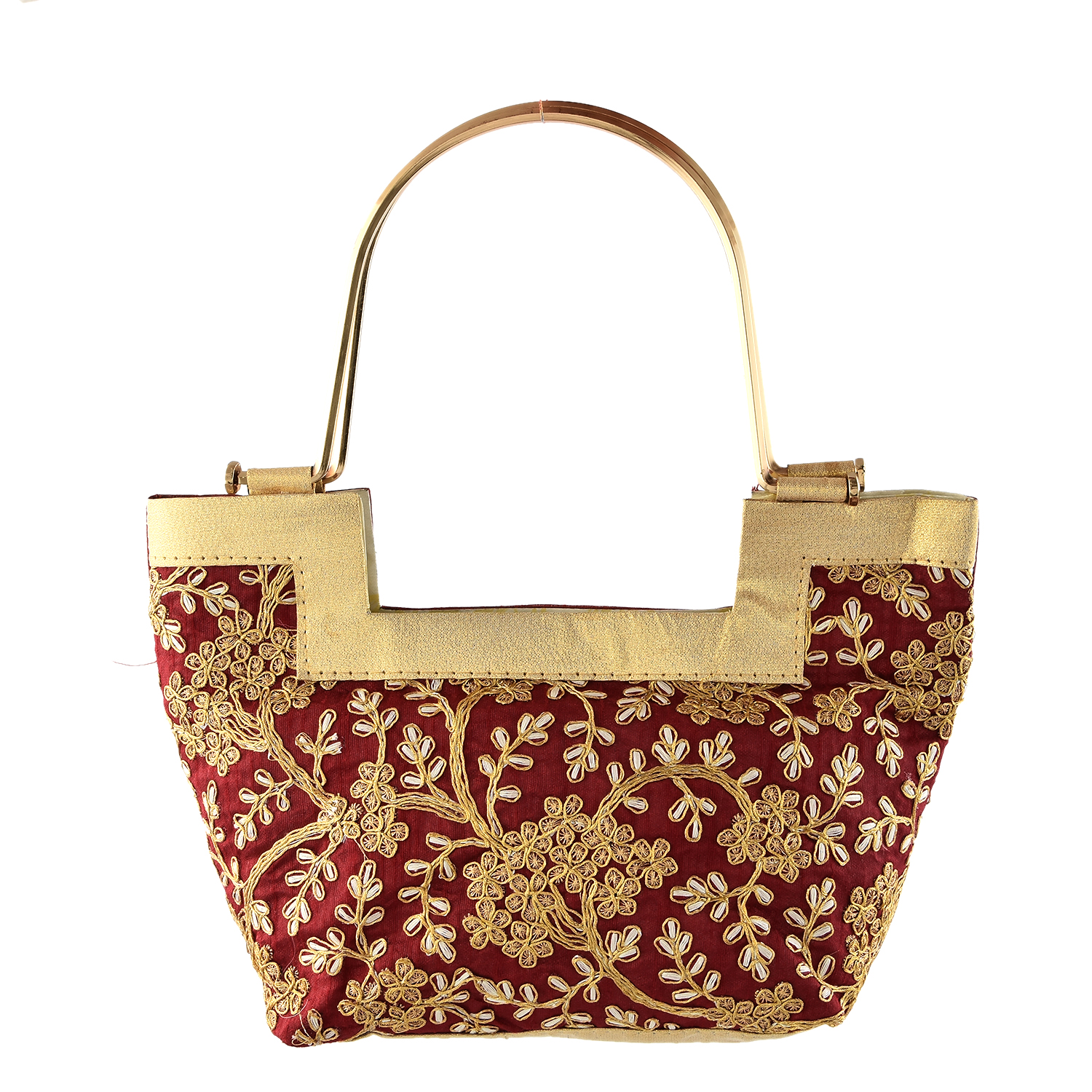 Kuber Industries Handcrafted Embroidered 2 Pieces Party Wear Clutch Bag Purse Handbag For Bridal, Casual, Party, Wedding, Metal Handle (Maroon & Cream)