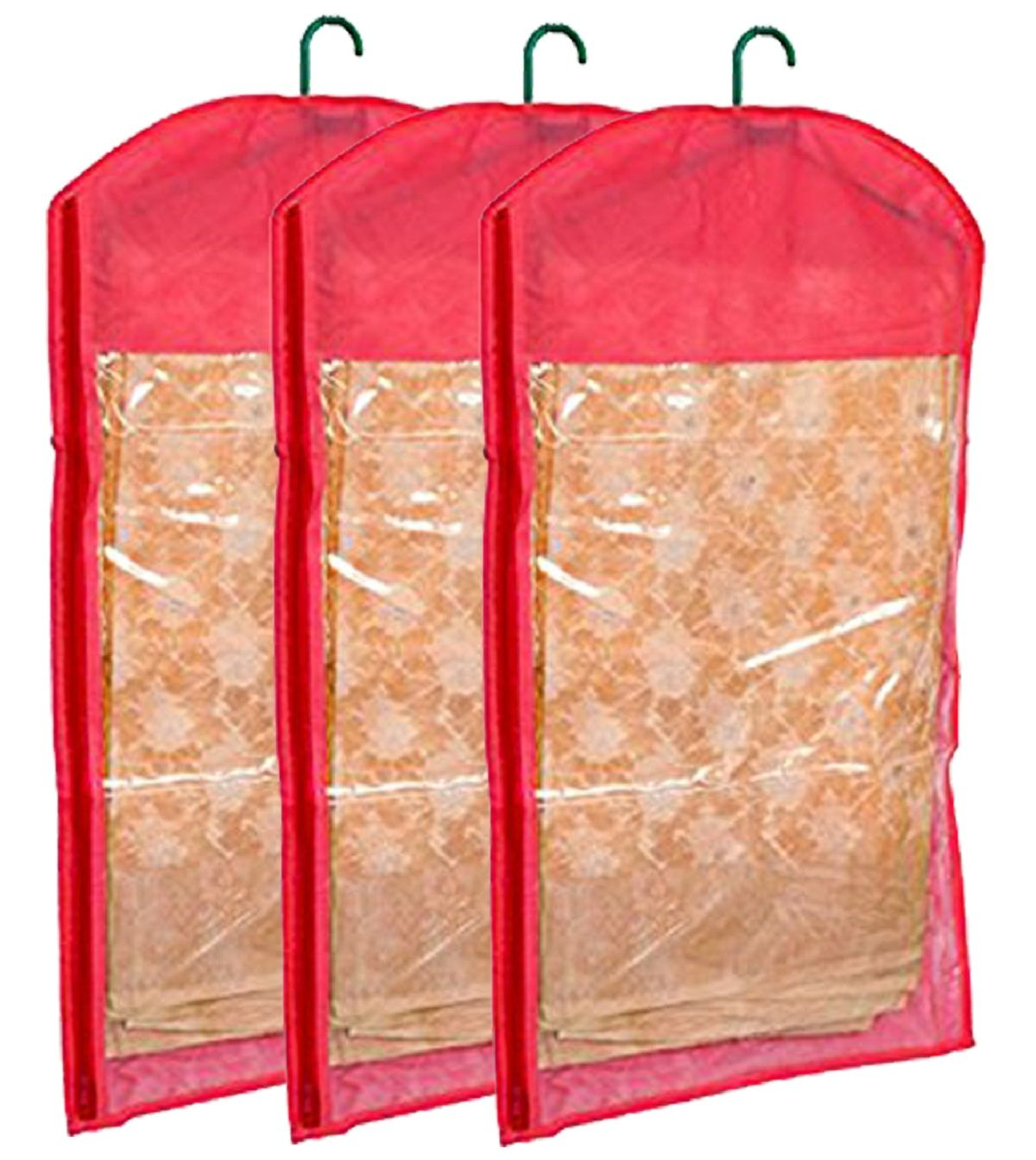 Kuber Industries™ Hanging Saree Cover In Non Woven Material Set of 3 Pcs (With Hanger)
