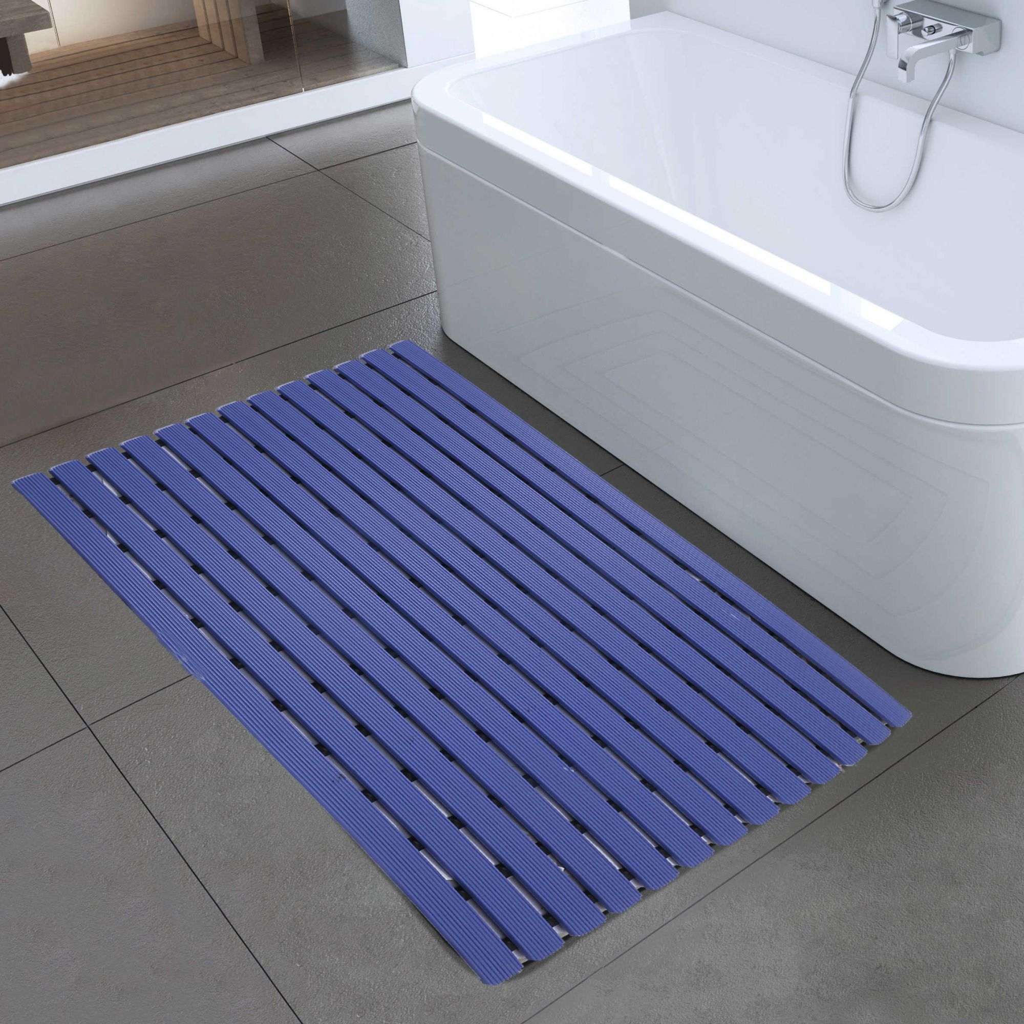 "Kuber Industries Hard Plastic Anti Skid Bath Mat 18x23.5"" (Blue) -CTKTC8558"