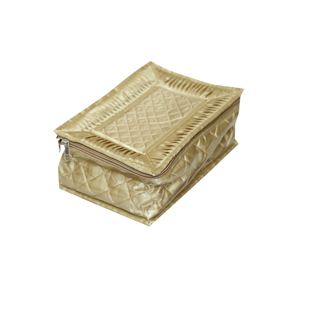 Kuber Industries Jewellery Box Golden Satin Fabric 12 Pouches