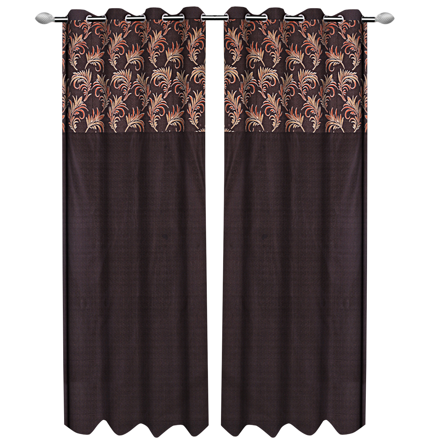 Kuber Industries Leaf Design 4 Pieces Polyester Eyelet Door Curtain 7 Feet (Coffee)-CTKTC14277