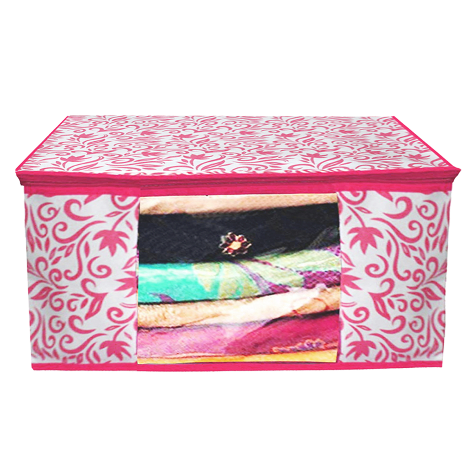 Kuber Industries Leaf Design Non Woven 2 Pieces Saree Cover And 2 Pieces Underbed Storage Bag, Cloth Organizer For Storage, Blanket Cover Combo Set (Pink) -CTKTC38656