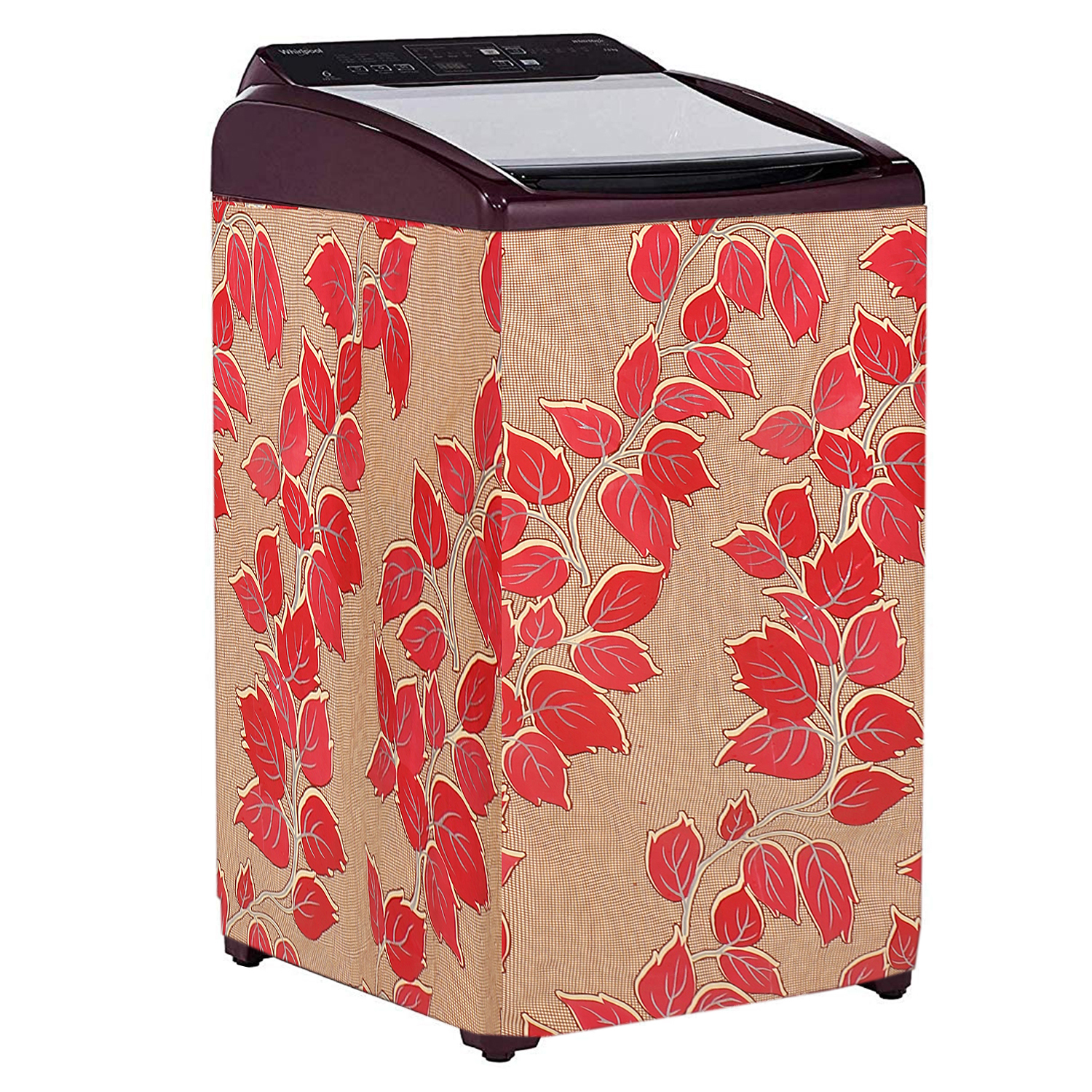 Kuber Industries Leaf Design PVC Top Load Fully Automatic Washing Machine Cover (Red)