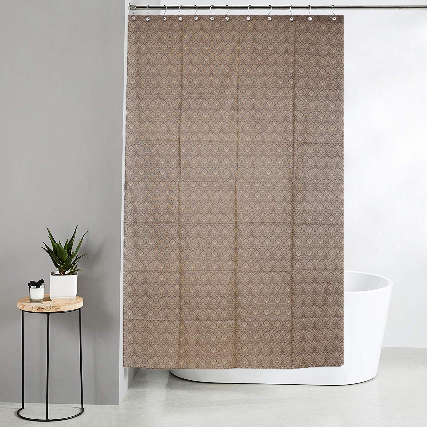 Kuber Industries Leaf Design Waterproof PVC Shower Curtain with 8 Hooks 54 inch x 84 inch (Coffee)