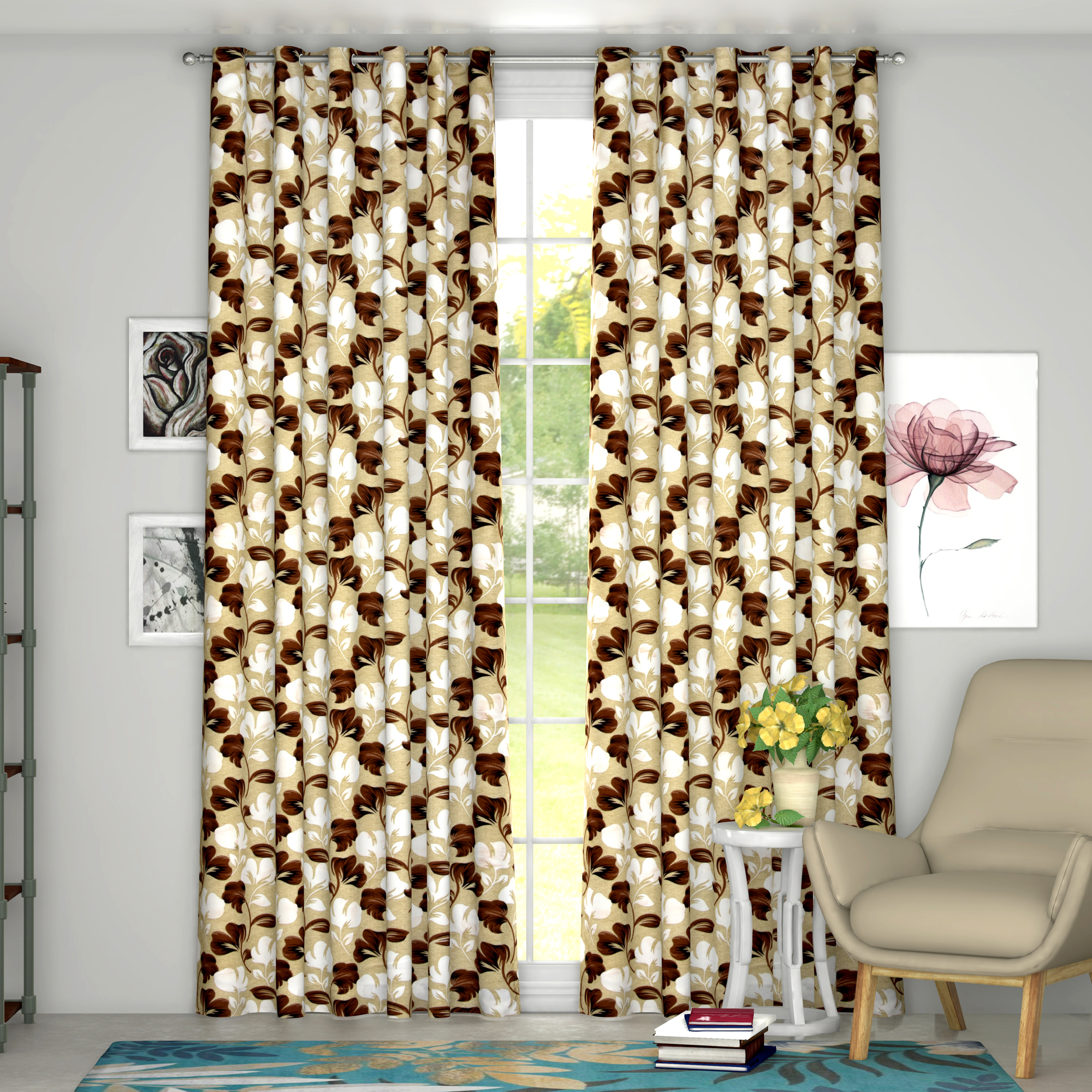 Kuber Industries Leaf Print 2 Pieces Patio Sliding Door Curtain - Keep Warm Draperies, Sliding Glass Door Drapes,7 Feet (Green)