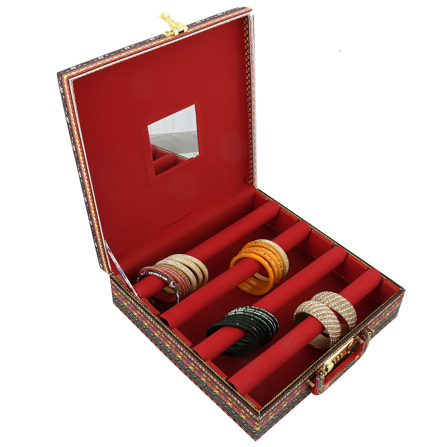 Kuber Industries Lining Design Wooden 1 Piece Four Rod Bangle Storage Box with Lock System (Maroon)  -CTKTC42362