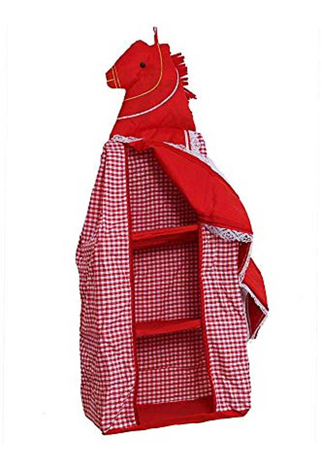 Kuber Industries Lining Horse Design Cotton Three Cabinet Hanging Baby almirah, Kids Wardrobe, Cloth Organizer, Folding almirah, Toy Box (Red) - CTKTC30999