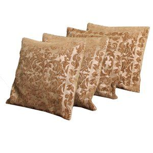 Kuber Industries™ Luxurious Velvet Self Design Cushion Cover (16x16 Inches)Set of 4 Pcs (Brown) Code-Cush22