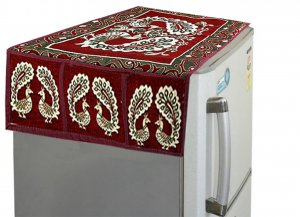 Kuber Industries™ Maroon Peacock Fridge Top Cover (FC51)