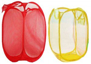 Kuber Industries™ Mesh Laundry Basket 2 Pcs Set (Big+Small) - (Assorted Color) Code-SCS37