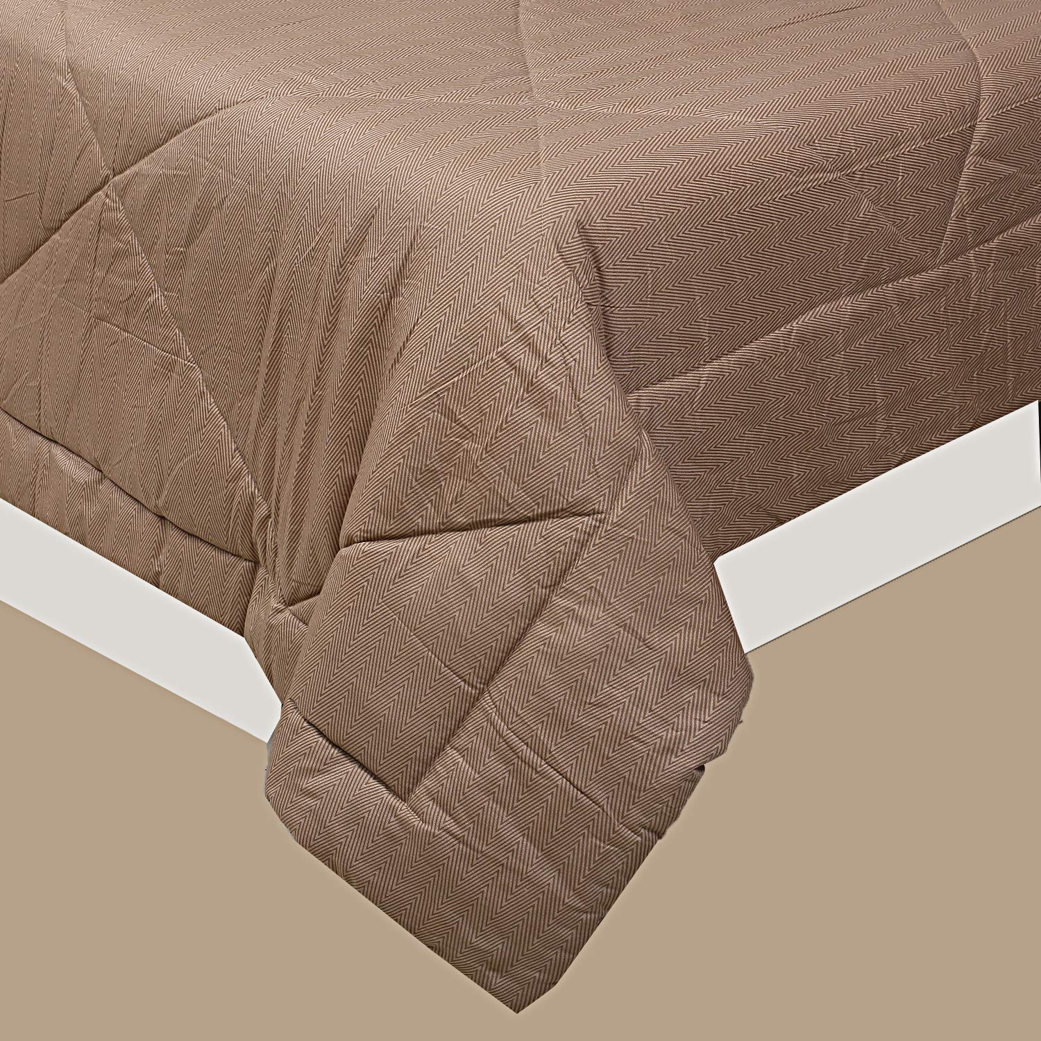 Kuber Industries Microfibre Printed Reversible Comforter, Double (Slate & Light Brown, 200 GSM)
