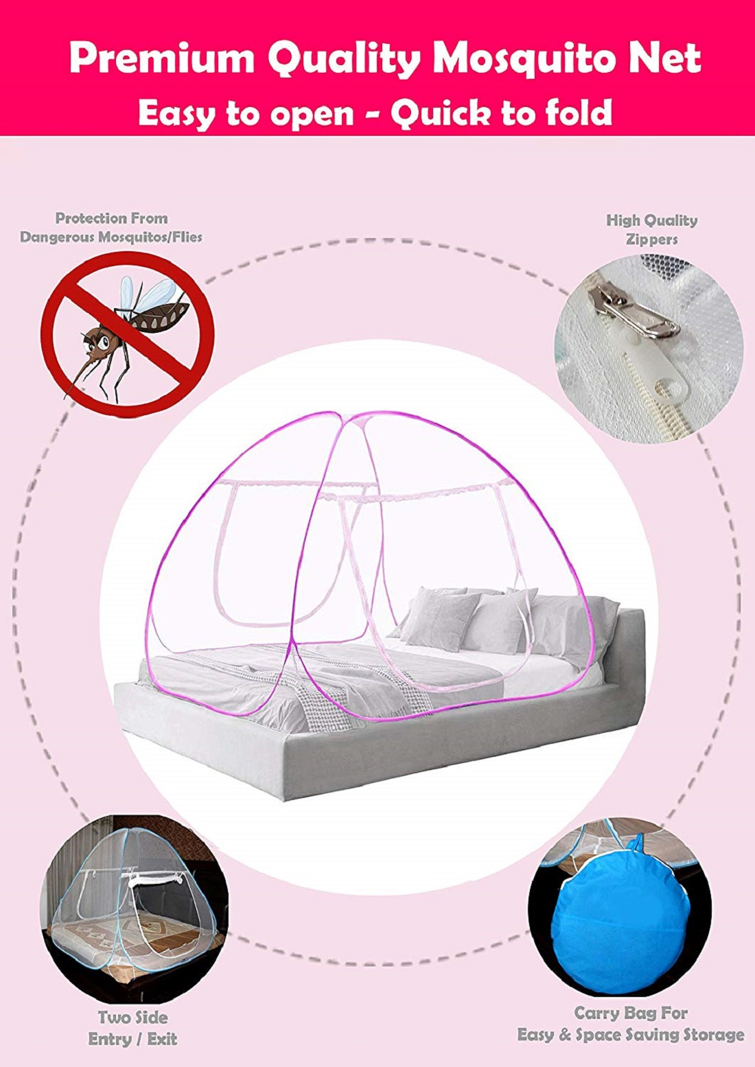 Kuber Industries Mosquito Net Foldable King Queen Size (Double Bed) with Free Saviours 6.5 x 6.5 Feet (Pink)