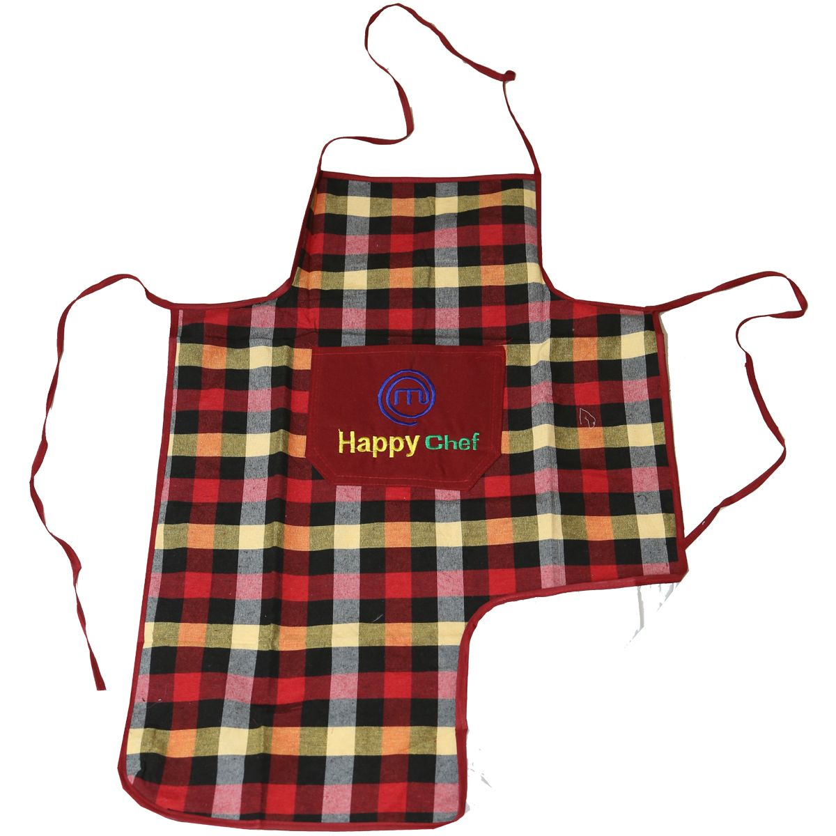 Kuber Industries™ Multi Check Design Waterproof Kitchen Apron With Front Pocket (Code- Ap006)