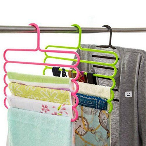 Kuber Industries™ Multipurpose Hanger For Shirts,Ties ,Trouser ,Cupboard Organiser,Strong - Multi Color (2 Pc) (Code-KST050)